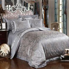 Hoja de cama Gris plata satén seda Jacquard Sábana Edredón / edredón del lecho de la funda nórdica Set Rey Queen Size Ropa de cama