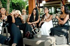 The Real Housewives of Atlanta. Cynthia Bailey, Nene Leakes, Marlo, Kenya Moore, and Mynique. Natural hair. Blonde short cut. Gorgeous celebrity black women.