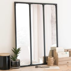 Miroir triptyque en métal noir 60x80 | Maisons du Monde