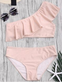 AD : Padded Ruffle One Shoulder Bikini Set - PINK Asymmetric bathing suit featuring single shoulder Bikini Sets, Bikini Bottoms, Swim Bottoms, Girls Bathing Suits, Bathing Suit Top, Bathing Suit Covers, Trendy Swimwear, Cute Swimsuits, Halter Bikini