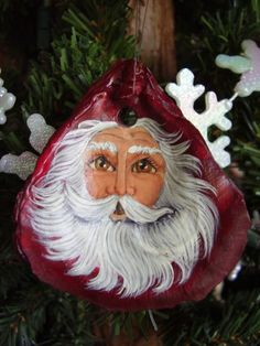 Santa Shell Ornament by CyndiMacsNickKnacks on Etsy