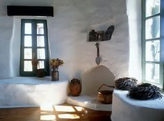 A Mykonos House Inspired by Classic Cycladic Design - Organic shapes and natural decor (dried flowers and branches) Mediterranean Bedroom, Mediterranean Homes, Interior Design Career, Decor Interior Design, Adobe House, Greek House, Natural Building, Stone Houses, My Dream Home