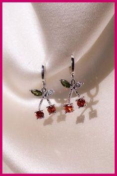 1 Juego de Joyería de Moda Rojo Cereza Metal Nupcial Collar Aretes Chic