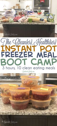 This set of 10 clean instant pot freezer meals is awesome!  Includes free printables (including freezer labels and a grocery list) and instructions  to prep the meals yourself.  Includes chicken and beef recipes for pressure cooking. via @lambertslately #CookingIdeas