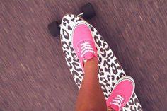 #longboard #skate #girl #vans #shoes #leopard #fashion