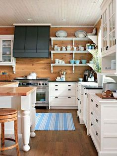 """open shelving  decorative brackets on natural cedar walls.  But tile is more Eco friendly than wood because its almost indestructible and so stays looking new virtually """"forever""""."""