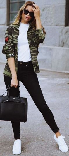 Cute-Winter-Outfits-with-Sneakers #WinterOutfits #Sneakers | Cute Winter Outfits || Outfits with Sneakers | Millitary Patch Jacket Outfits