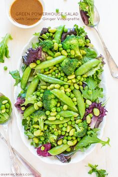 Green Powerhouse Salad with Sesame-Ginger Vinaigrette
