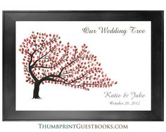 Fall Colors - Thumbprint Guestbook for weddings, showers, or even any party occasion. Thumbprint Guestbook - Tree # 4