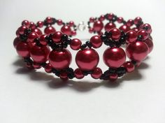 Red and Black Bracelet by tahdeah on Etsy, $10.00