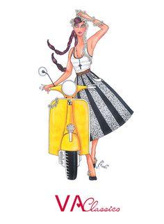 VA Classics Illustration/Ilustración nº4. Original Illustration by me; Aninka Miller #vespa #lambretta #piaggio #scooter #scooterist #vespino #vespista