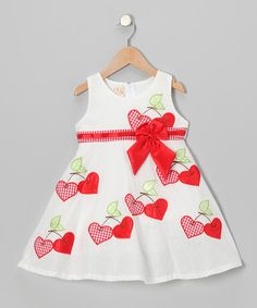 Look what I found on #zulily! White & Red Gingham Cherry Heart A-Line Dress - Toddler & Girls #zulilyfinds