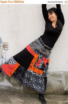 SPRING SALE M-L Crazy pop art recycled long jeans skirt