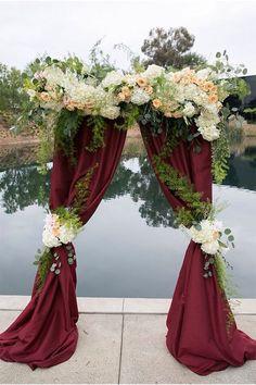Marsala peach rose wedding arch / http://www.deerpearlflowers.com/burgundy-and-gold-wedding-ideas/