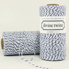Maybe for invitations - NAVY Bakers Twine - White Navy Blue Stripe 240 Yards Spool of Cotton String. $15.00, via Etsy.
