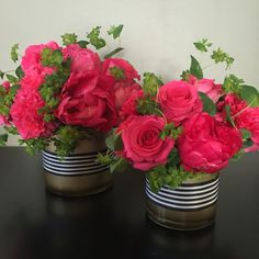 Kate Spade inspired centerpieces with black and white stripped ribbon flowers/pink/bright