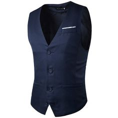 Fashion Business Casual Korean Style Pure Color Single Breasted Vest (74 BRL) ❤ liked on Polyvore featuring men's fashion, men's clothing, men's outerwear, men's vests, mens vest, mens vest outerwear, mens v neck vest, mens formal vest and mens sleeveless vest