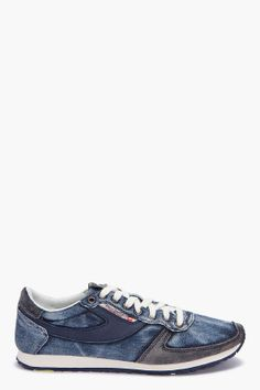 pass on sneakers  denim and blue leather  diesel