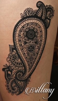 Paisley tattoo thigh tattoo blackwork black tattoo linework. Skinny Boy Tattoo, Post Falls, ID