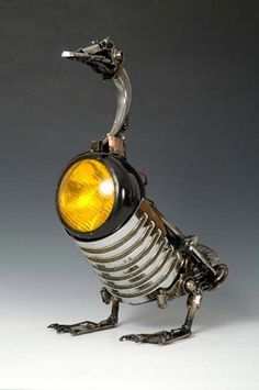 recycled crafts, metal sculptures to recycle car parts