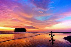 Ngwe Saung beach Myanmar at sunset. https://ExploreTraveler.com