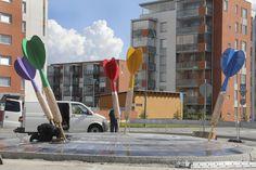 An installation by Pekka Jylhä at a roundabout in Lempäälä, Finland.    Picture by Jukka Manninen