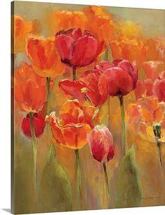 """Tulips in the Midst I"" by Marilyn Hageman via @greatbigcanvas #canvasprint #orangeart"