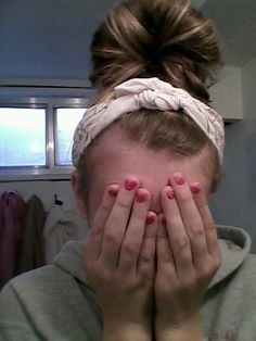 Bun on top of head with bandana... Cute winter hair!