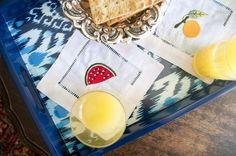 Guardanapo cocktail frutas linho(conjunto com 4)