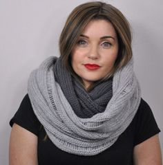Beautiful thick silver and smoke grey infinity scarf www.copperpenni.etsy.com