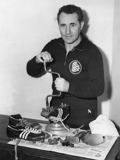 """Adolf """"Adi"""" Dassler - cca 1954 > The founder of the German sportswear company Adidas, and the younger brother of Rudolf Dassler, founder of Puma. Adidas Co, Adidas Soccer Shoes, Soccer Boots, Adidas Brand, Football Boots, Adidas Sneakers, Adidas Vintage, Adolf Dassler, Adidas Spezial"""