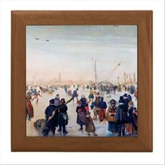 Ice Skating Scene. Fine Art Christmas Gift Ceramic Tiles. Artist Hendrick Avercamp. Ice Skating . Fragment of the painting. 17th century. Matching card , postage stamp and other products available in the Christmas and New Year Category of the oldandclassic store at zazzle.com.