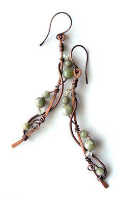 #Wirewrapped earrings boho earrings cool by Kissedbyclover on Etsy,