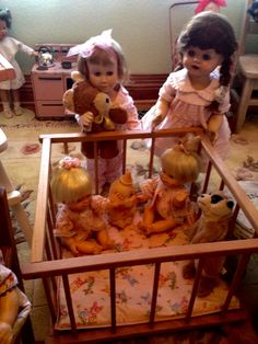 Watching Babies Cheerful Tearful Paulette's Little Girl Toys, Toys For Girls, Little Girls, Dolls Dolls, Art Dolls, Antique Dolls, Vintage Dolls, Doll Display, Vintage Nursery