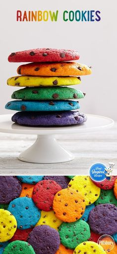 Bright, bold colors aren't just for your summer wardrobe. Try this trend with your next batch of chocolate chip cookies! Serve on a white platter to let the colors truly pop.(Baking Cookies With Kids) Cake Cookies, Cookies Et Biscuits, Cupcake Cakes, Cupcakes, Baking Cookies, Baking Desserts, Cookie Favors, Party Desserts, Rainbow Food