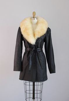 1970s leather jacket w/ shearling collar