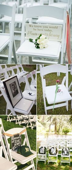 wedding chair ideas to remember deceased loved ones - Online Wedding Planner XYZ Cute Wedding Ideas, Wedding Goals, Wedding Themes, Wedding Tips, Perfect Wedding, Our Wedding, Dream Wedding, Wedding Decorations, Memorial At Wedding