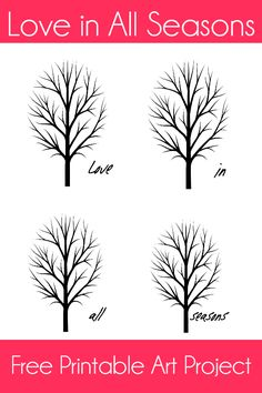 Love in All Seasons – Free Printable Art Project 5 Daycare Crafts, Crafts For Boys, Crafts To Do, Fall Crafts, Art For Kids, Arts And Crafts, Free Printable Art, Free Printables, Four Seasons Art