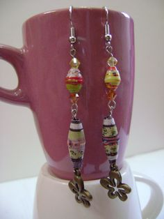 Upcycled Paper Bead Earrings  Dangling by NightLightCrafts on Etsy, $18.00