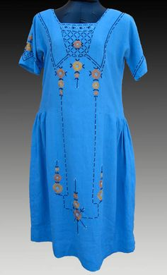 Arts and crafts, 20s style  --  blue-linen-dress-by-julie-long-gallegos.jpg (408×675)