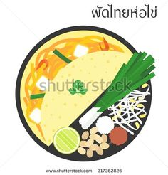 Vector fried noodle illustration with thai alphabet pad-thai-hor-khai,meaning thai stir fried noodle with omelette ,flat design