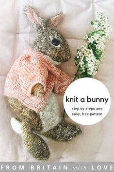 How to knit a bunny rabbit. Click through for easy step by step tutorial and fre. - Frisuren, How to knit a bunny rabbit. Click through for easy step by step tutorial and free knitting patten to make a knitted baby easter bunny rabbit. Click th. Animal Knitting Patterns, Stuffed Animal Patterns, Easy Baby Knitting Patterns, Knitted Doll Patterns, How To Start Knitting, Easy Knitting, Knitting Toys, Vogue Knitting, Knitted Dolls