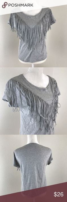 Gray Short Sleeve Western Bib Fringe Tee Gray short cuffed sleeve tee with western 80s inspired long fringe on the front. Soft gray material. 100% cotton. Cover Stitched Tops Tees - Short Sleeve