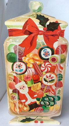 An apothecary jar full of colorful Christmas candies. C irca ~ White Christmas Originals. Card is in excellent, used vintage condition. Christmas Scenes, Noel Christmas, Retro Christmas, Christmas Candy, Christmas Crafts, White Christmas, Xmas, Vintage Christmas Images, Vintage Holiday