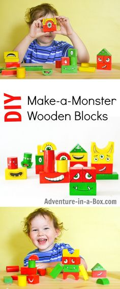 Turn old wooden blocks into make-a-monster blocks! Toddlers will laugh…