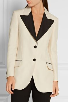 Cream and black wool and silk-blend faille Button fastenings through front 51% wool, 49% silk; trim: 100% silk; lining: 71% acetate, 29% silk Dry clean Made in Italy