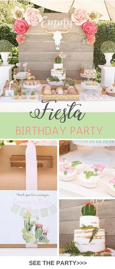 This adorable Mexican Fiesta Birthday Party theme has cactus, pinatas and a bohemian vibe. In soft pinks, greens and gold it has a rustic touch. Modern Fiesta we are calling this inspiration. via @tinselbox_