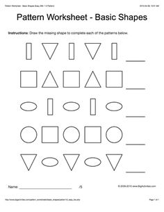Pattern worksheets for kids - black & white basic shapes, 1-2 pattern. Draw the missing shape to complete the pattern