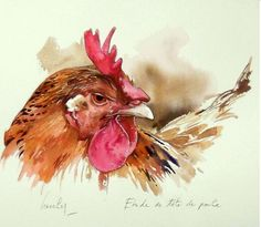 Would be nice for journaling Watercolor Bird, Watercolor Animals, Watercolor Paintings, Rooster Painting, Rooster Art, Chicken Painting, Chicken Art, Silk Painting, Painting & Drawing