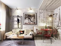Стена из белого кирпича в стильном интерьере